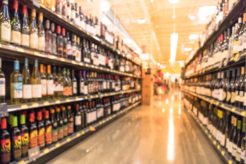 Aisle lined with bottles