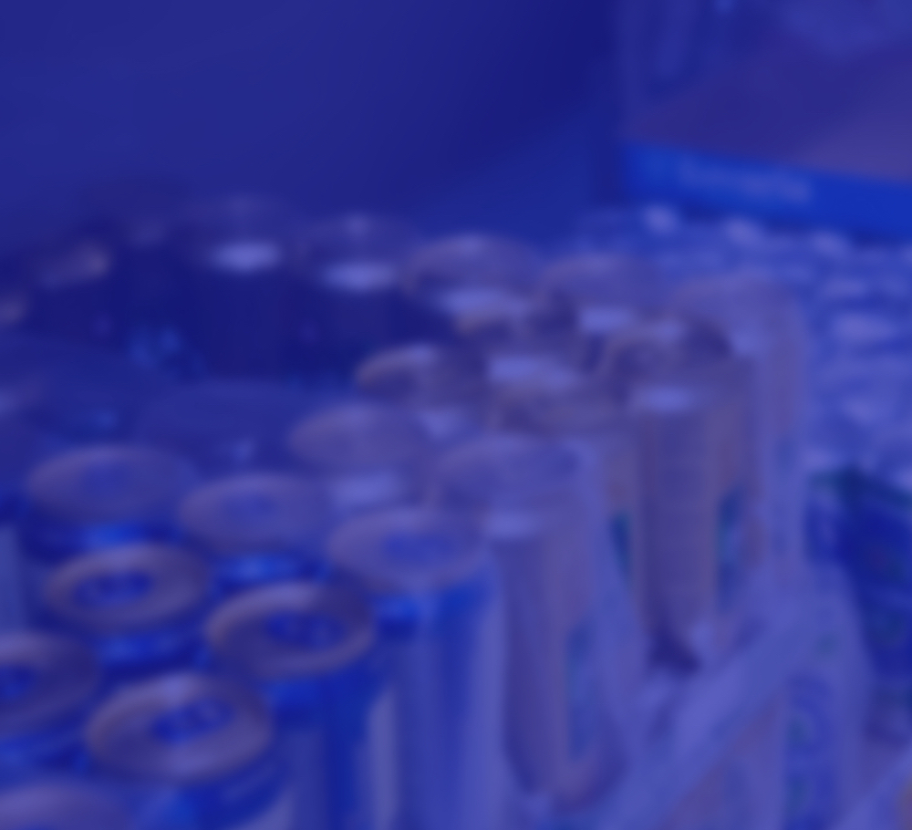 Blue image of cans